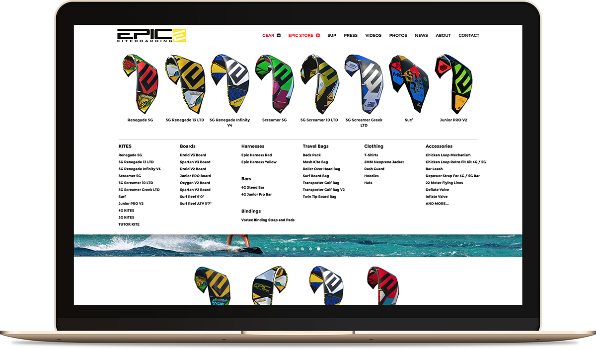 EPIC KITES KITEBOARDING website on the computer