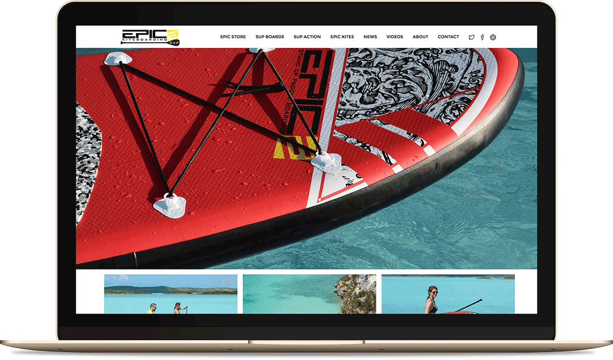 EPIC KITES KITEBOARDING STAND UP PADDLE BOARDS website on the computer