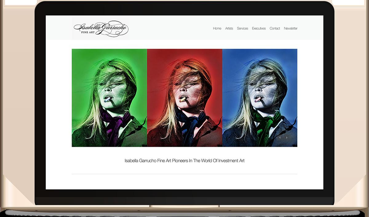 Isabella Garrucho Fine Art website on the computer